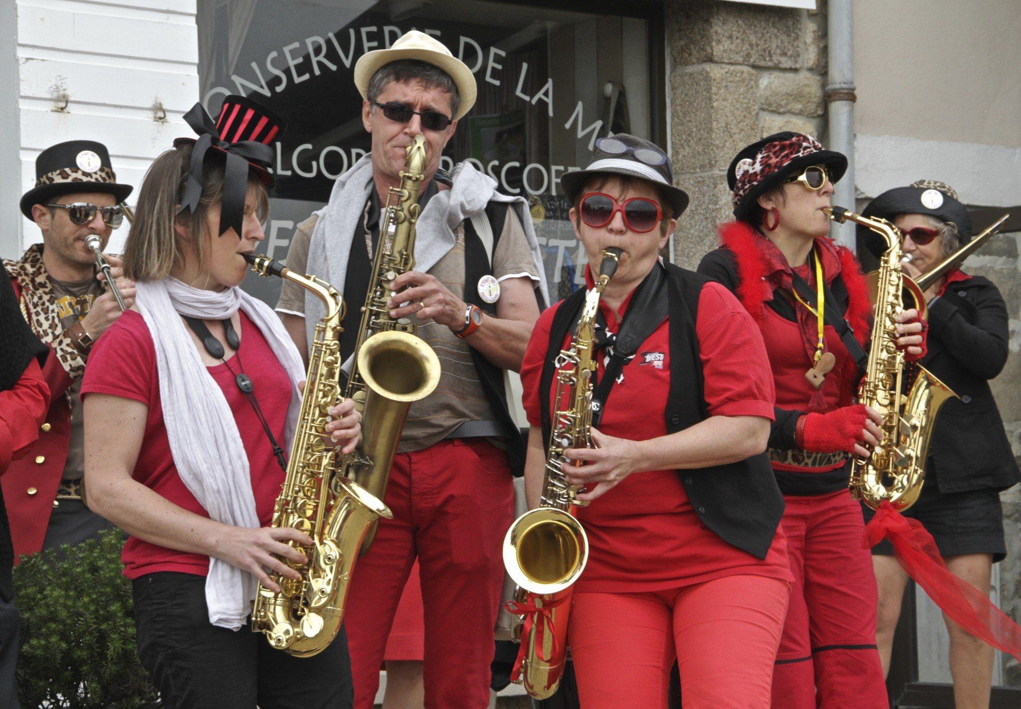 A brass band reception!